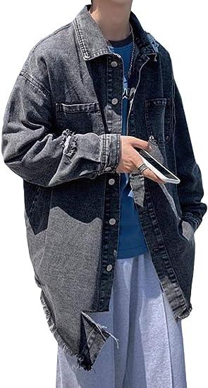 Aisaidunメンズ デニムジャケット 秋服 折り襟 メンズ ジャンパー ブルゾン ゆったり ジャケット ダメージ加工 カップル ジージャン ファッション トップス カジュアル お出かけ リラックス