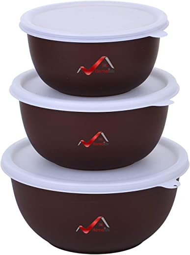 Homeish Microwave Safe Stainless Steel Plastic Coated Bowls with Lid - Set...