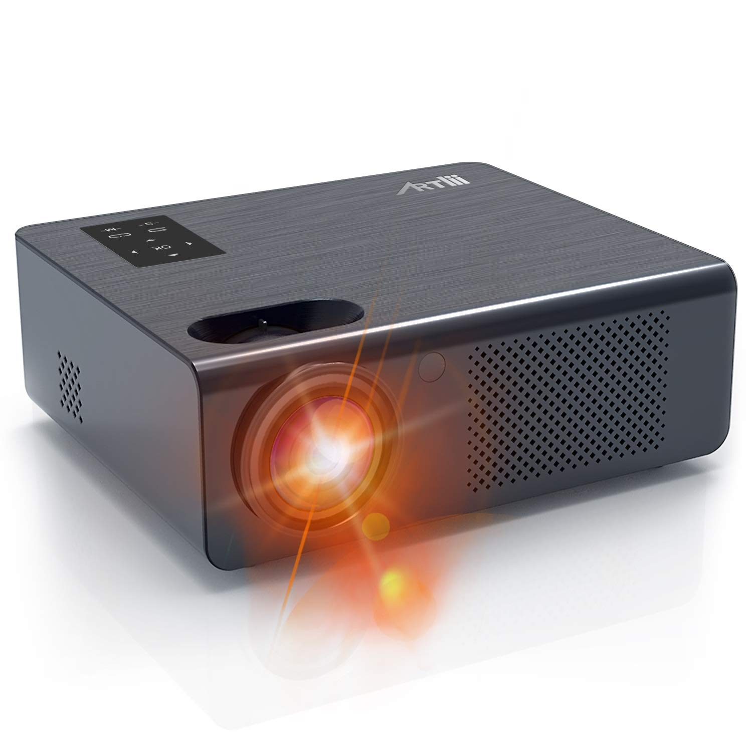 Home Theater Projector - Artlii Full HD Movie Projector with Zoom, 200 ANSI Overhead Projector, LED Projector with 250'' Projection Size HiFi Stereo, Compatible with Nintendo Switch Chromecast TV