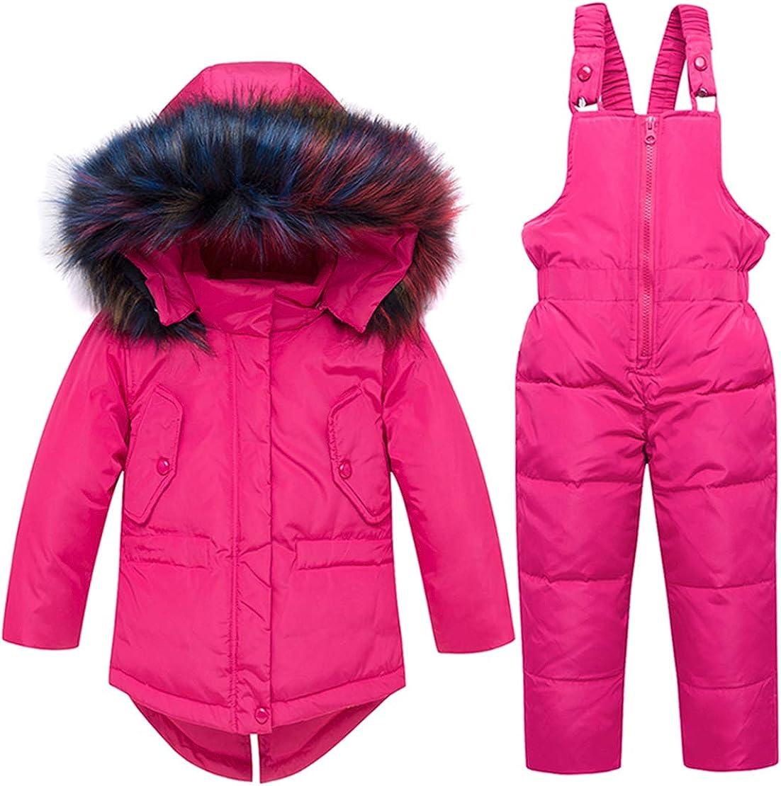 Hayisugar Unisex Baby Snowsuit Kids Puffer Winter Warm Snowsuit Jacket Hoodie Coat Down with Snow Down Bib Pants 2 Pieces Ski Outfit Set 1-5 Years