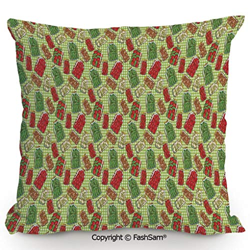 FashSam Decorative Throw Pillow Cover Vintage Style Pattern Glass Jars Kitchenware Pickles Picnic Retro Art Cafe Home for Pillow Cover for Living Room(18