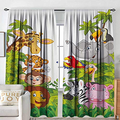(Petpany Blackout Curtains Nursery,Cartoon Style Zoo Animals Safari Jungle Mascots Collection Tropical Forest Wildlife,Multicolor,for Bedroom,Nursery,Living Room 84