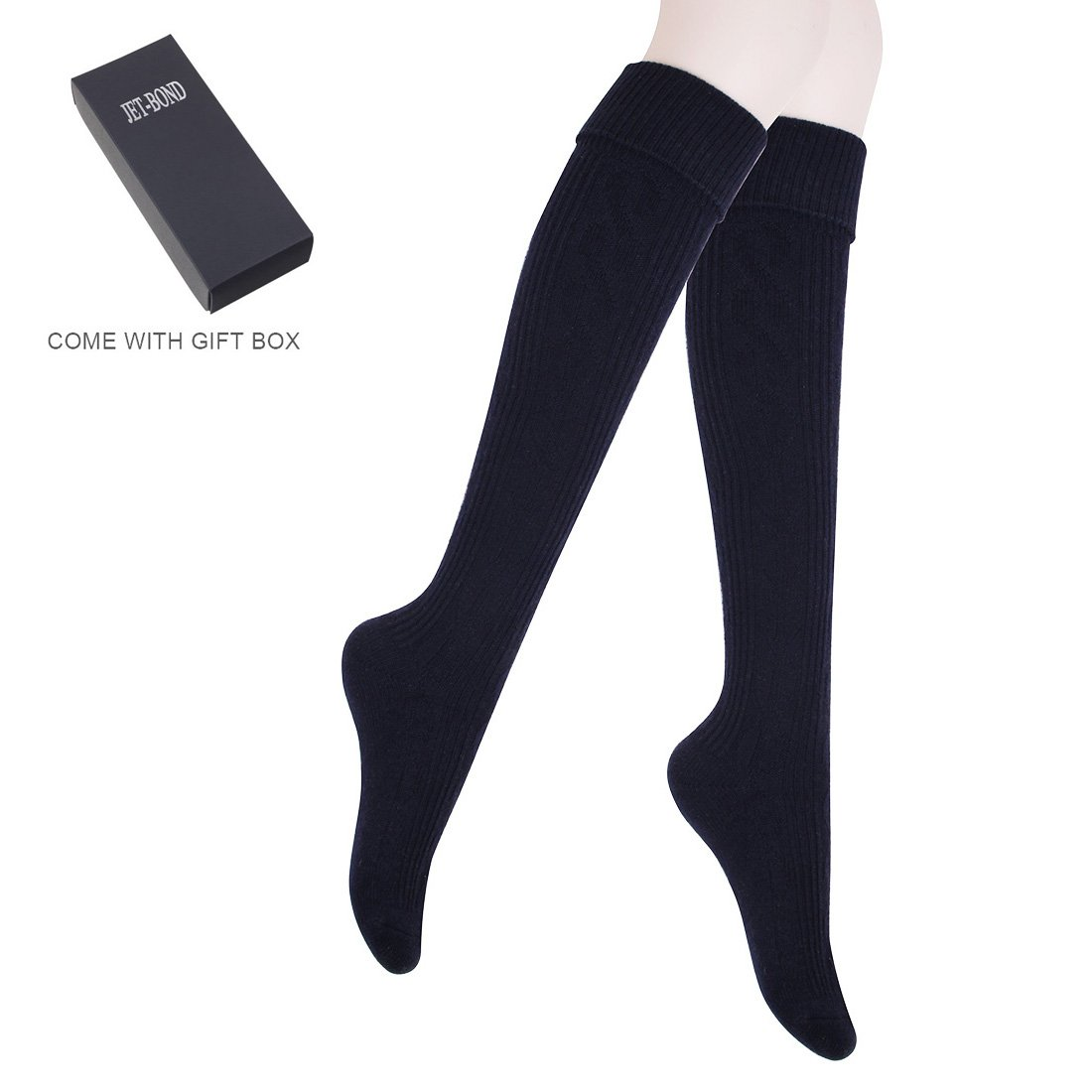 JET-BOND Thick Wool Woollen Cashmere Thigh High Knee Socks Warm Stockings Knit Sweater Thickening Leg Warmers FS03 TS008