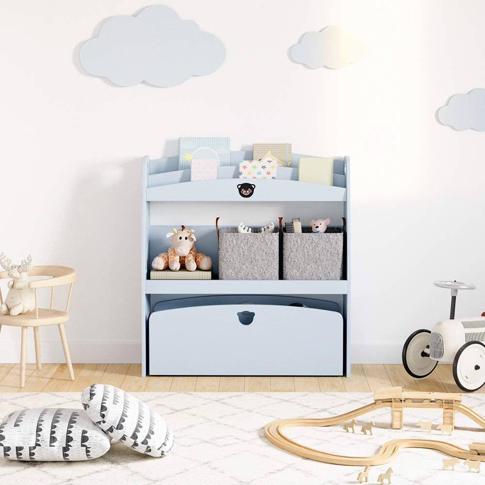 BESTIER Kids Toy Storage and Bookshelf, Home Small Extra-Large Toy Box Chest Furniture with Rolling Box