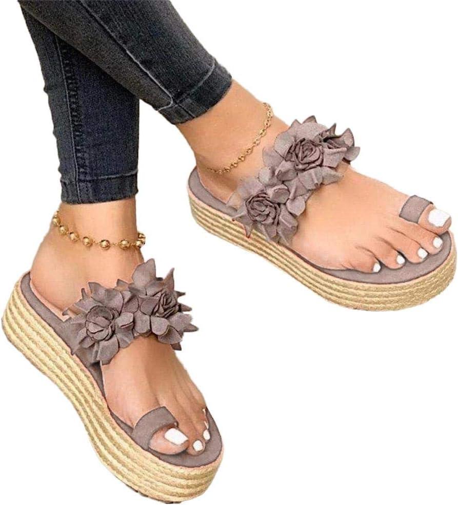 Sandalias de plataforma sin cordones de flores para mujer, sandalias de juanete Chanclas con cuña ortopédica Zapatillas diarias Playa verano para mujer Zapatos casuales antideslizantes para caminar