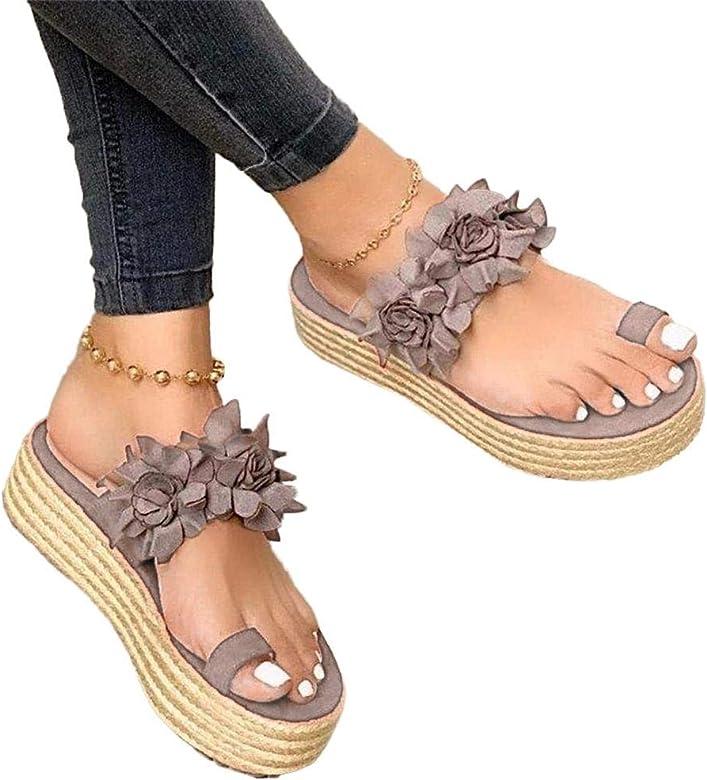 Sandalias de plataforma sin cordones de flores para mujer, sandalias de juanete Chanclas con cuña ortopédica Zapatillas diarias Playa verano para mujer Zapatos casuales antideslizantes para caminar: Amazon.es: Zapatos y complementos