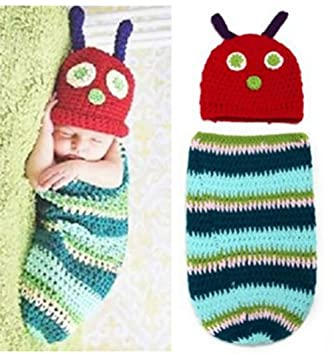 8cd939b83 Qingsun Baby Boys Girls Hat Knitted Caterpillar Photography Props Outfits  Infant Newborn Crochet Beanie Hat Clothes for Baby 3-6 Months
