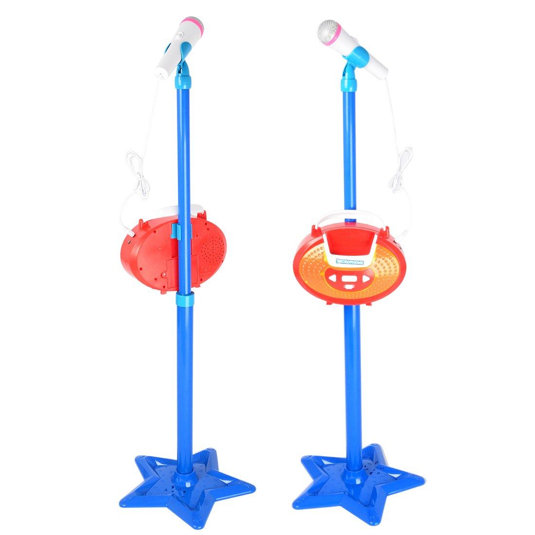 LoKauf Microphone and Stand Kids Karaoke Machine Childrens Microphone with Stand Toy Microphone