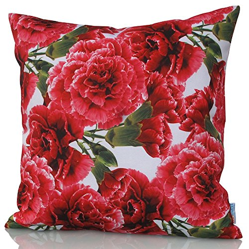 Red Carnation Floral Pillow Cover for Indoor Outdoor Use on Patio, Garden, Furniture, Decks with Pretty Flowers - Cover Only No Inner Sunburst Patio Furniture