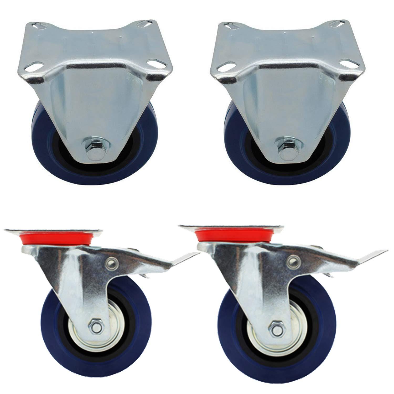 Miafamily ruedas de transporte la Industria cargas pesadas ruedas ruedas fijas y ruedas con freno Azul elastiche goma 4 unidades en Set, 100 mm: Amazon.es: ...