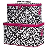 Ever Moda Pink Damask Cosmetic Makeup Train Case (2-piece set)