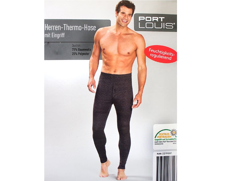 Herren Thermo Hose in schwarz-grau Größe XL / 7 - Baumwollmischung - Textiles Vertrauen geprüft auf Schadstoffe nach Oeko-Tex(R) Standard 100 - Ski & Snowboard Unterwäsche Lange Buchse Unterhose