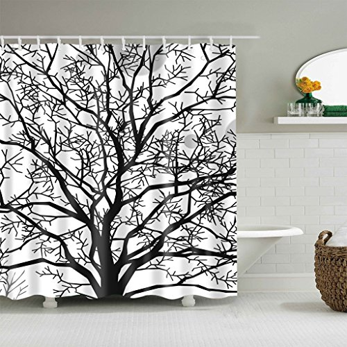 Hibbent Tree Branches Leafless Bathroom Shower Curtain, Waterproof Fabric Bathroom Curtain with Hooks - 100% Polyester Bath Curtain Natural Scence - 72 x 72 Inch ()