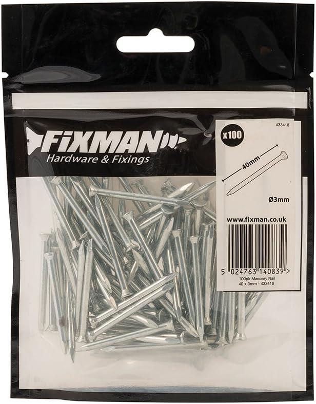 Fixman 433418Muro clavos, paquete de 100, color gris
