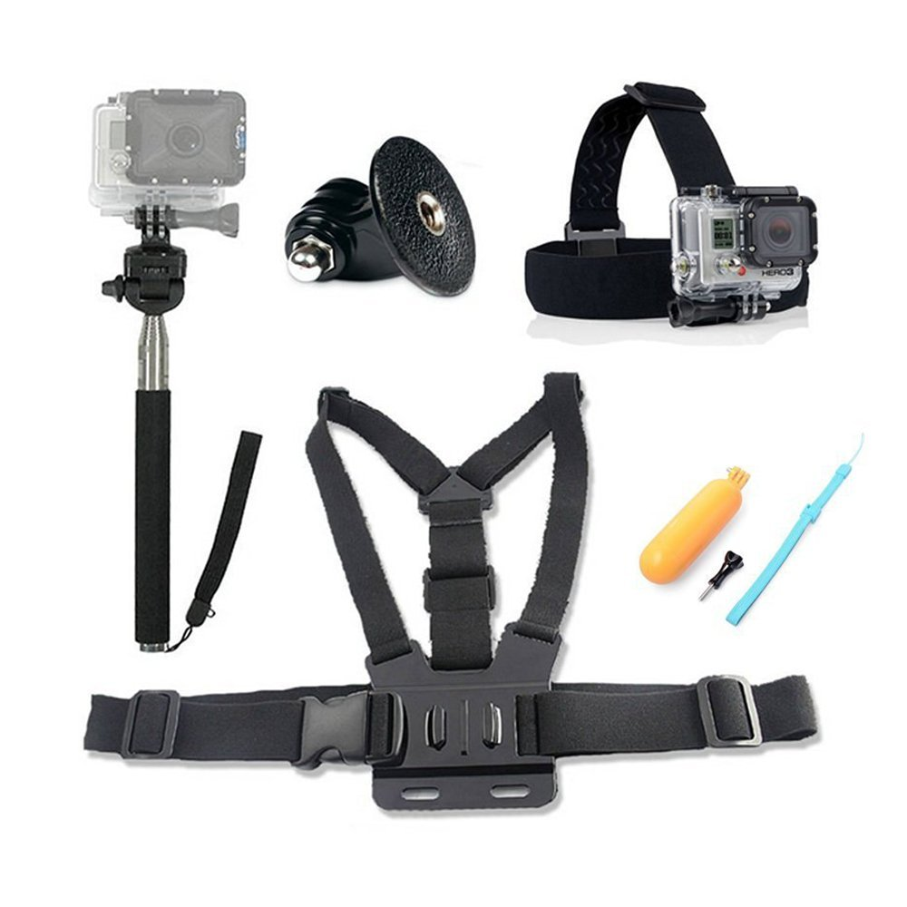 HOMREE 4 in1 Ultimate GoPro Accessories Pack Head & Chest Strap & Monopod & Yellow Hand Grip Floating Mount For HD & Hero 5/ Hero 4/ Hero 3+/3 2 Action Camera SJ4000 SJ5000