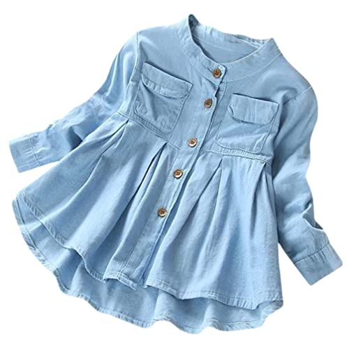 219dda193 Toddler Baby Girl Ruffle Denim T-Shirt Tops Blouse Kids Long Sleeve Outfit  Clothes (