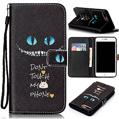Crystal Slider Case (iPhone 7 Plus Case,ARSUE [Stand Feature] Funny Cat Face Don't Touch My Phone PU Leather Folio Wallet Flip Case Cover [Card Slots] for Apple iPhone 7 Plus 2016)