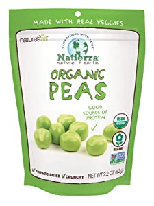 Natierra Nature's All Foods Organic Freeze-Dried Peas | Non-GMO & Vegan | 2.2 Ounce (Pack of 12)