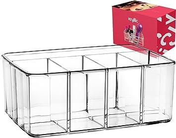 Cajón Organizador maquillaje baño almacenaje - Pincel acrílico y soporte de paleta cosméticos para tocador aparador encimera 5 sección la bandeja para lápiz ...
