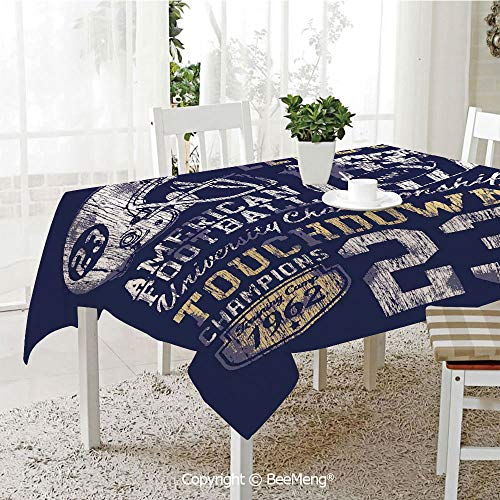 BeeMeng Dining Kitchen Polyester dust-Proof Table Cover,Sports,Retro American Football College Illustration Athletic Championship Apparel Decorative,Purple White Yellow,Rectangular,59 x 59 inches