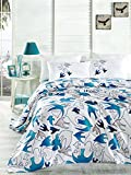 LaModaHome 4 Pcs Luxury Soft Colored Bedroom Bedding 100% Cotton Double Coverlet (Pique) Set Thin Coverlet Summer/Soft Relaxed Comfortable Pattern Fish Animal/with Flat Sheet