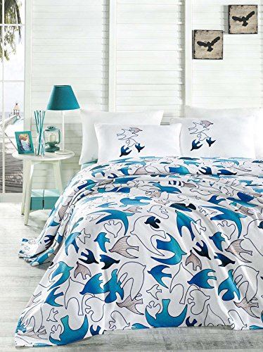 LaModaHome 4 Pcs Luxury Soft Colored Bedroom Bedding 100% Cotton Double Coverlet (Pique) Set Thin Coverlet Summer/Soft Relaxed Comfortable Pattern Fish Animal/with Flat Sheet by LaModaHome