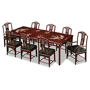 China Furniture Online Rosewood Dining Table 96 Inches Ling Chi Design With Mother Pearl Inlay