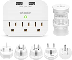 Multi Plug USB Outlet Extender, World Travel Power Adapter with 3 Outlets 3 USB Ports for USA, AU, Europea, China, Japan, Asia Cruise Ship Accessories Must Have etc