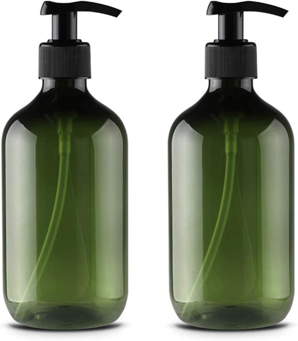 Alledominio, 2 Botellas de plástico vacías rellenables de 500 ml, dispensador de jabón líquido, Verde (Verde) - #1 500ml Empty Plastic Bottles