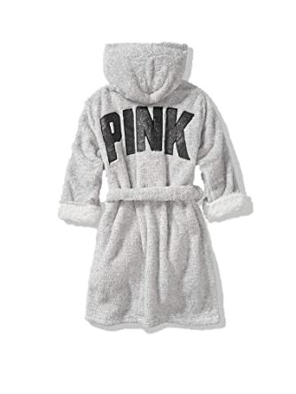 52d9f45416424 Victoria's Secret Robe Sherpa Lined Cozy Gray Pink Extra Small/Small ...