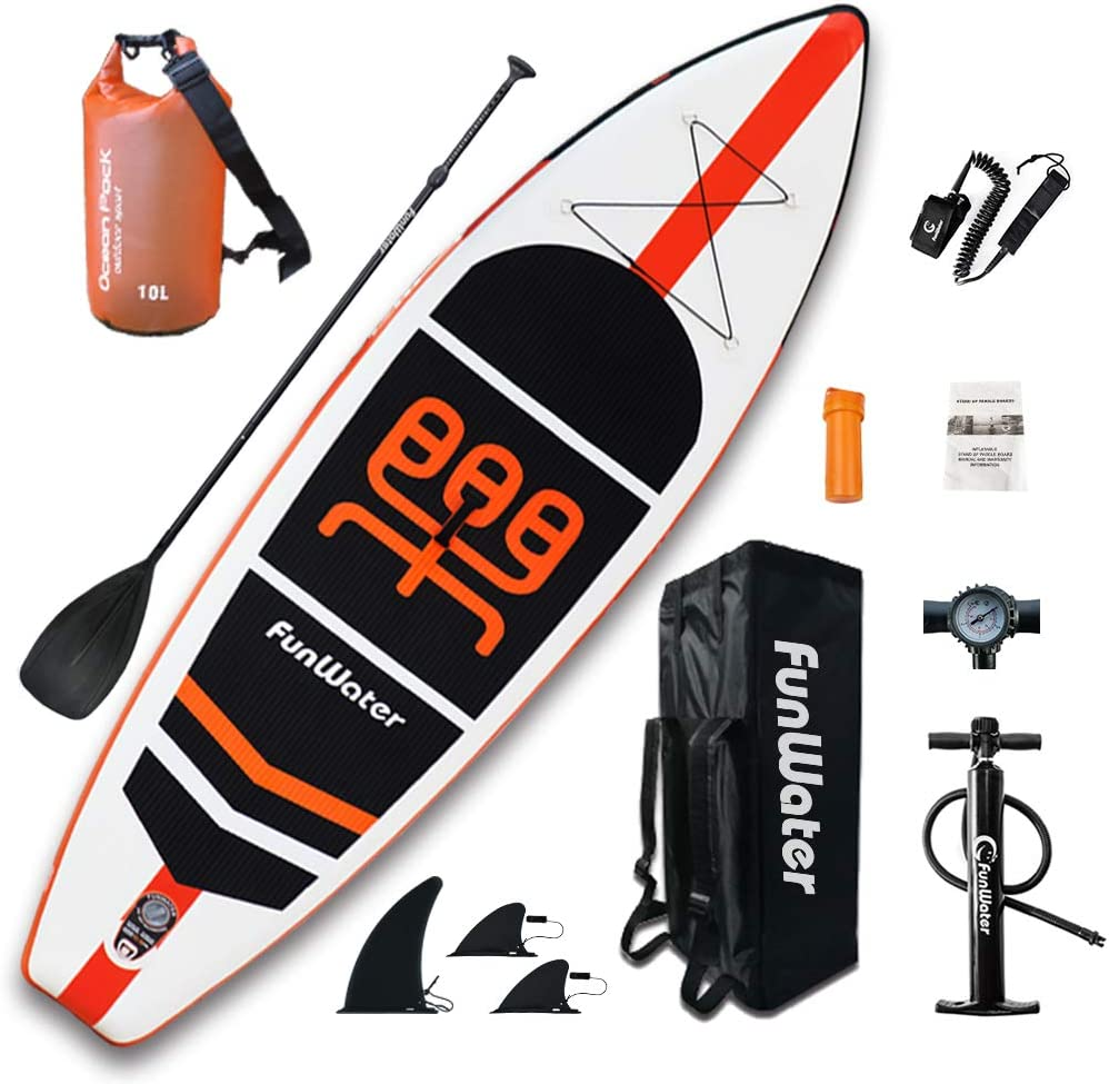 funwater inflatable stand up paddle board package