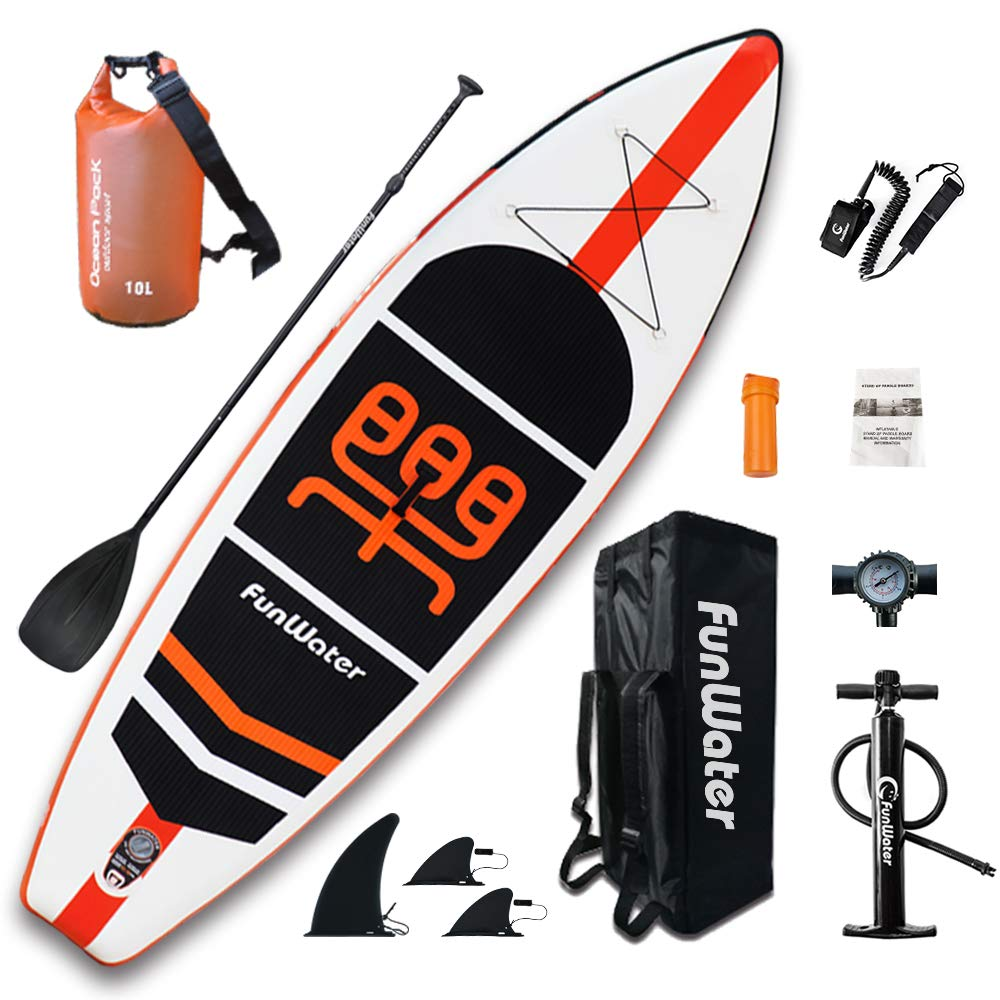 FunWater Inflatable Stand Up Paddle Boards 11'×33''×6'' Ultra-Light (17.6lbs) SUP for All Skill Levels Everything Included with 10L Dry Bags, Board, Travel Backpack, Adj Paddle, Pump, Leash, Repair Kit by FunWater