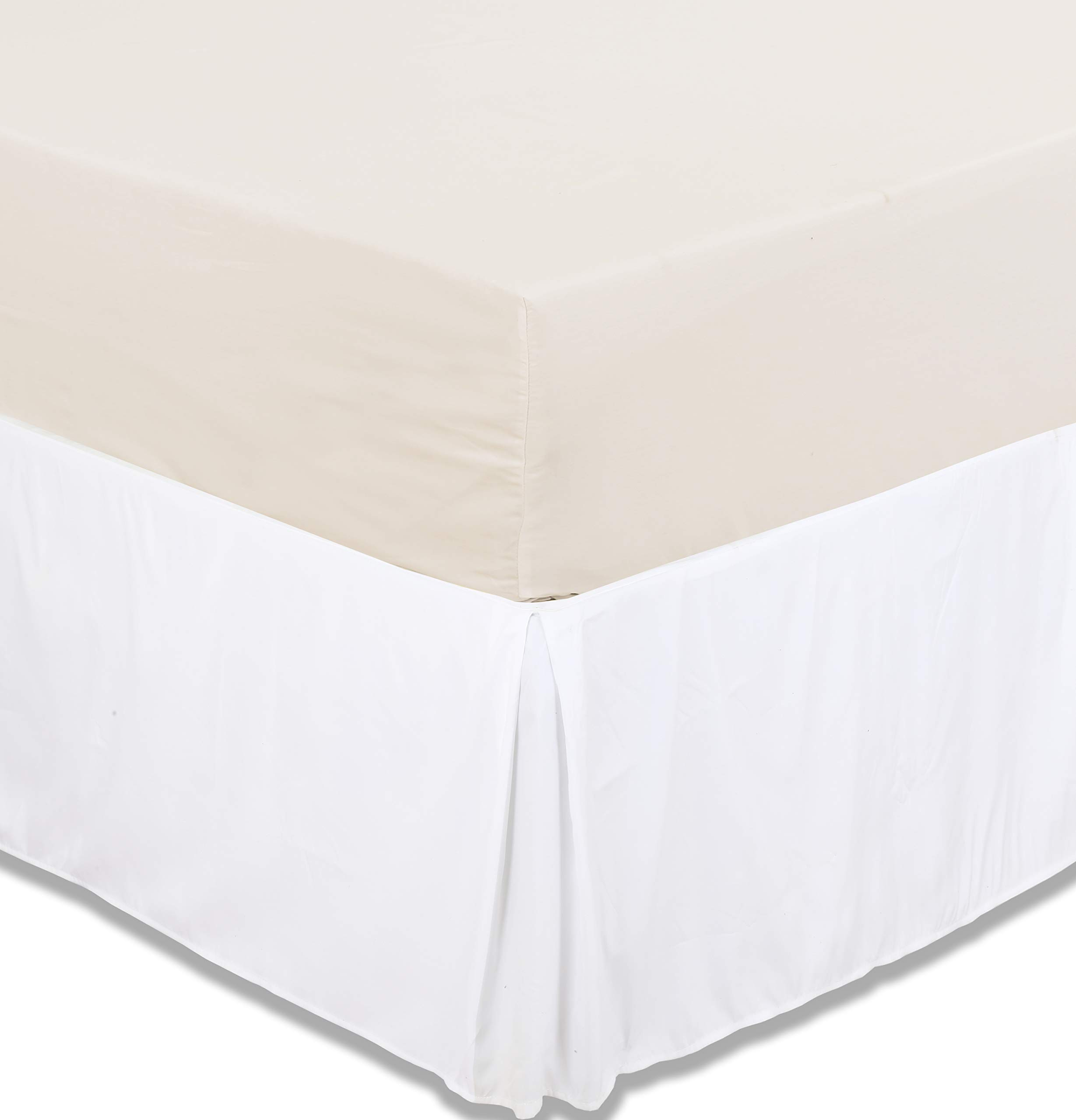 """Excellent Deals Bed Skirt (Queen, White) - Brushed Microfiber Quadruple Pleated Dust Ruffle - 14.5"""" inch elegant Drop - Easy Clean, Iron Easy-Fade and Wrinkle Resistant-Comfortable & Durable."""