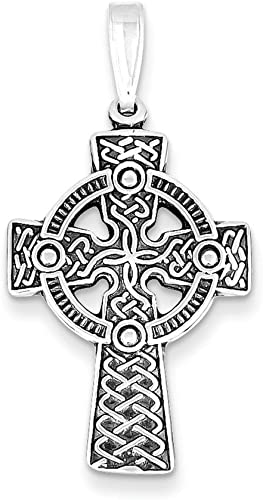 .925 Sterling Silver Antiqued Celtic and Iona Cross Charm Pendant