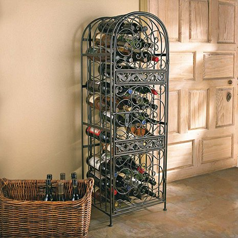45-Bottle Renaissance Wrought Iron Wine Holder Stand, Sophisticated Wine Storage
