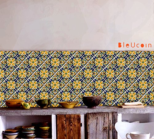 Yellow Mexican Tile Stickers For Kitchen And Bathroom Backsplash, Stair  Riser Stickers, Peel U0026
