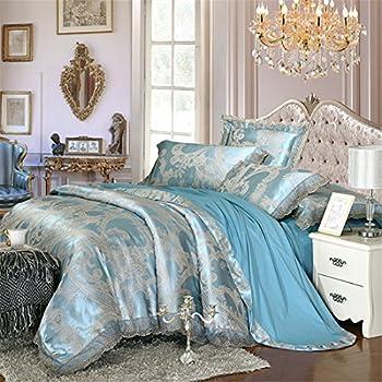 Lotus Karen Home Textile Satin Bedding Set Cotton 40s Luxury Jacquard Bedding Set Embroidery Lace Ruffle 4PC Duvet Cover Set,1Duvet Cover,1Bedsheet,2Pillowcase King Queen/Full Size