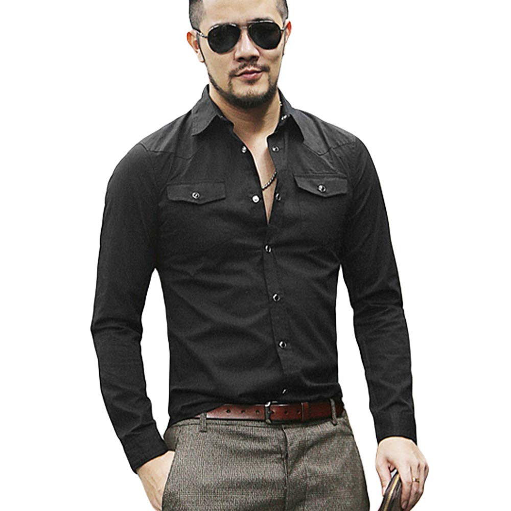 MIXLIMITED Mens Fashion Long Sleeved Shirt Solid Slim Fit Casual Shirt with Pocket