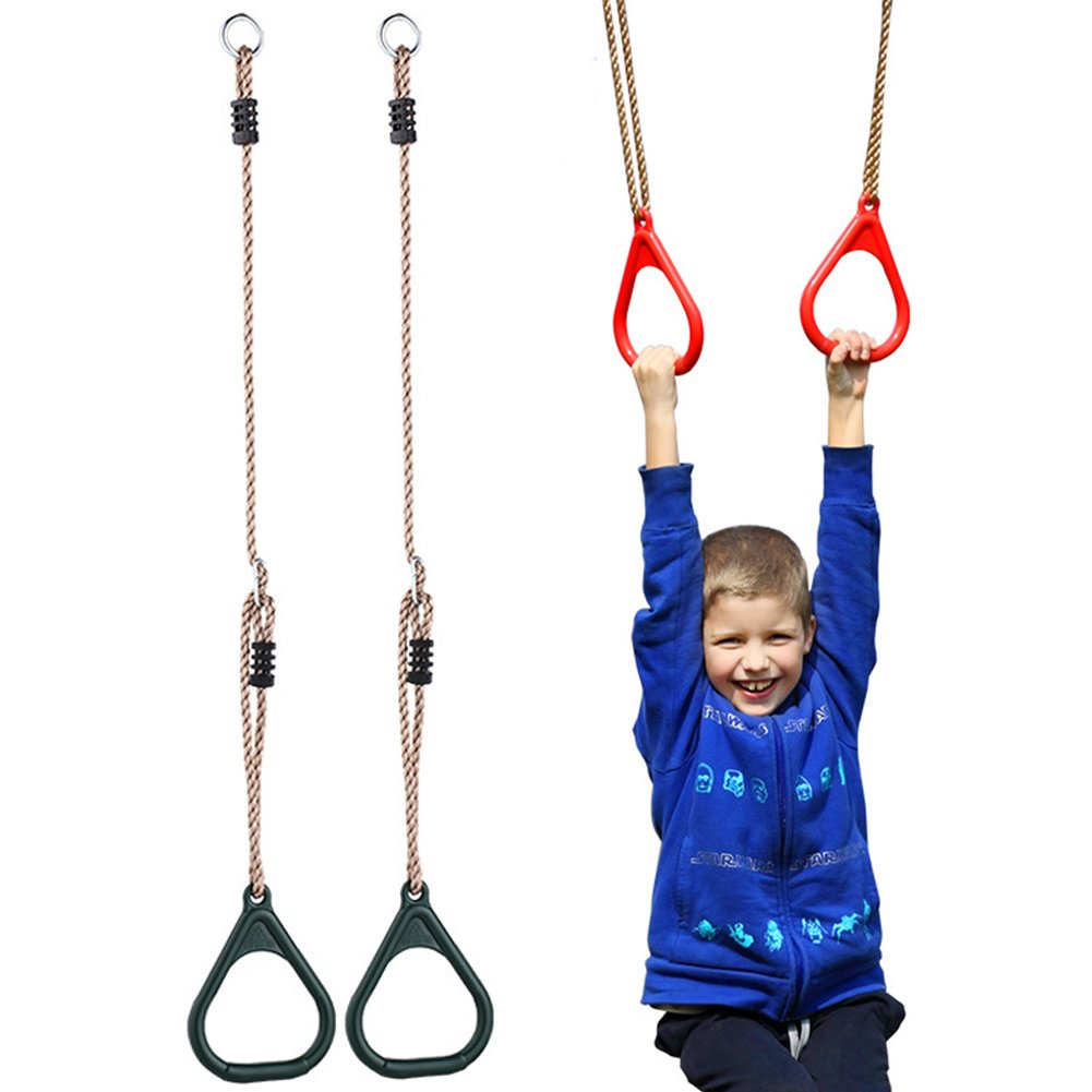 equipos de fitness accesorios para interiores y exteriores YIFEIKU Co.,Ltd Anillos de gimnasio para ni/ños con barra de trapecio para el gimnasio parque de juegos para el hogar