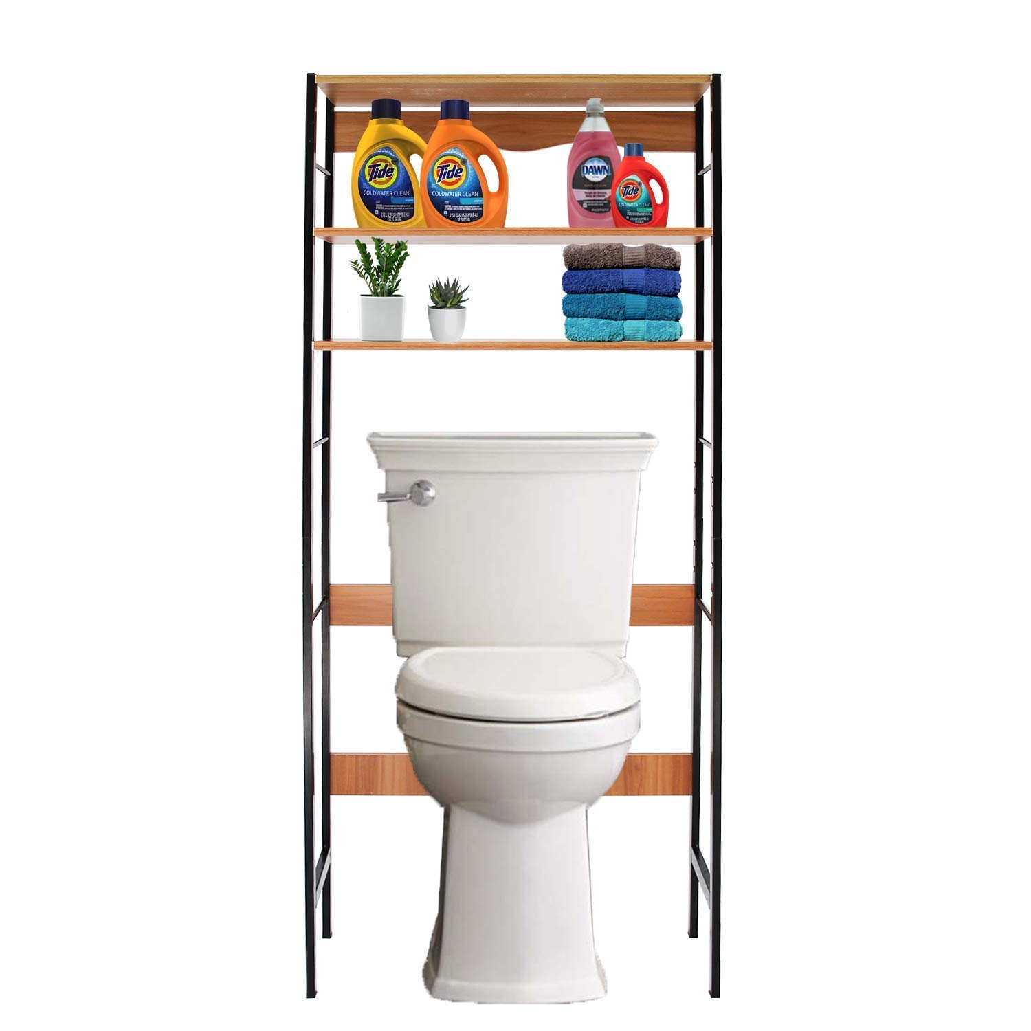 Jerry & Maggie - Bathroom Organizer Over The Toilet Rack 3 Tier Accessory Sets Home Livingroom Space Saver Storage Cabinet with Steel Support Frame and Wood Board by Jerry & Maggie