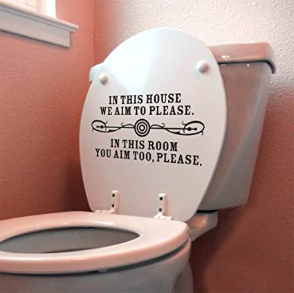 restroom wall decor.  Quot We Aim To Please Wall D Cor Sticker Vinyl Decal Bathroom Toilet Amazon Com