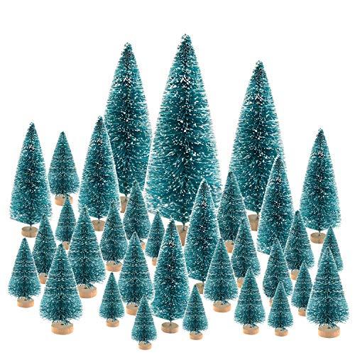 (KUUQA 66Pcs Mini Christmas Trees Bottle Brush Trees Sisal Snow Pine Trees Architecture Trees Winter Snow Ornaments for Christmas Decorations Diorama Models)