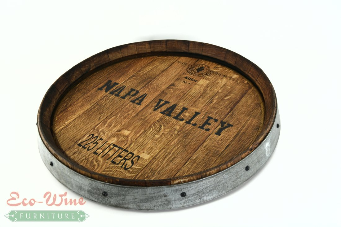 Wine Barrel Lazy Susan Napa Valley by Eco Wine Furniture