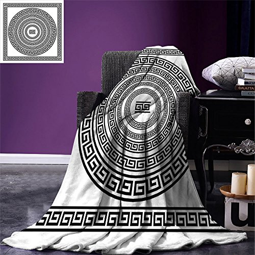 smallbeefly Greek Key Throw Blanket Traditional Meander Border Set with Square and Circles Antique Ethnic Frame Pack Warm Microfiber All Season Blanket for Bed or Couch Black White