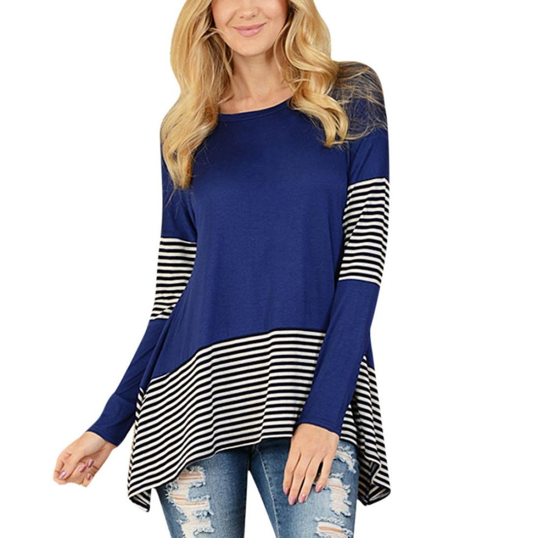 Flurries Shirt, Women Stripes Asymmetry Hem Tunics Blouse