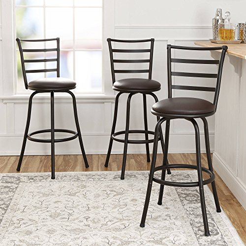 3-Piece Ladder Back Ajustable Height Sturdy Metal Frame Swivel Barstool, Comfortable Seat Cushions, Hammered Bronze Finish ()