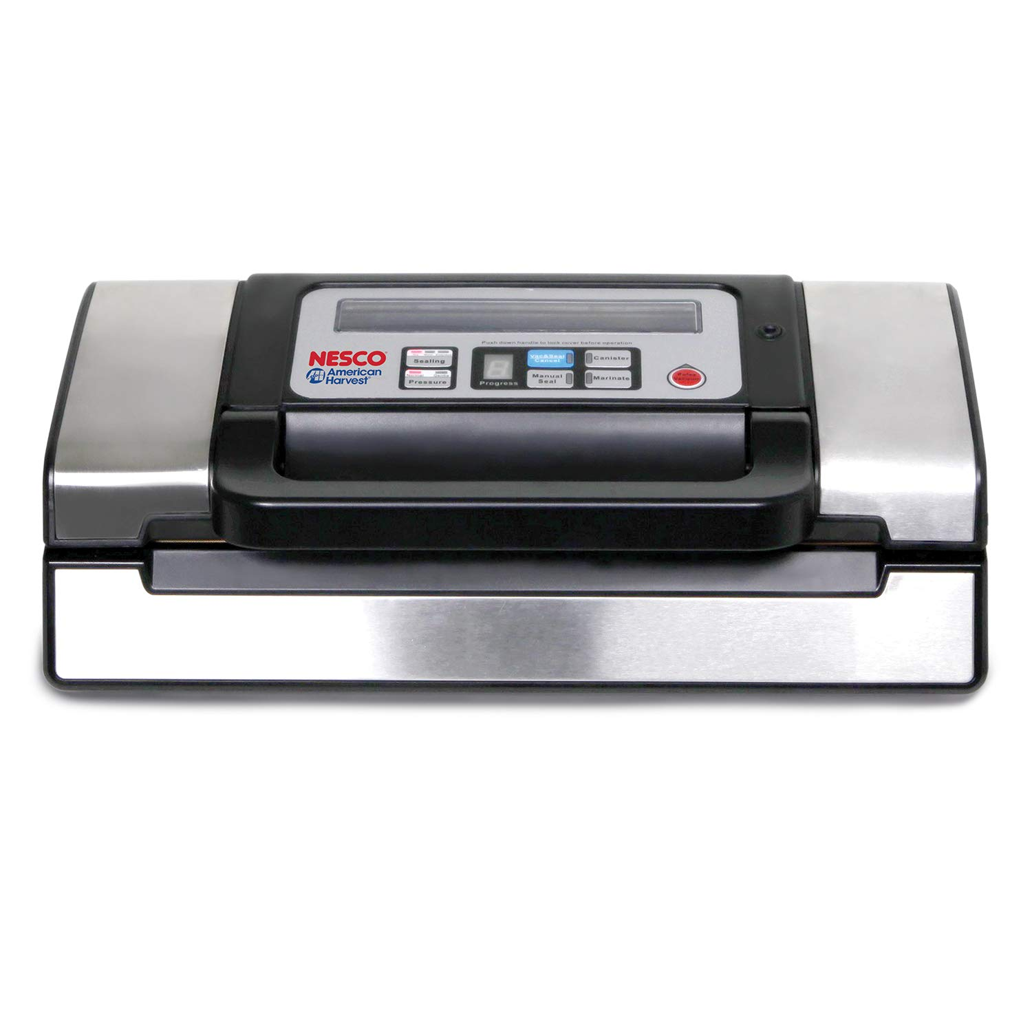 NESCO VS-12, Deluxe Vacuum Sealer with Bag Starter Kit and Viewing Lid, Compact Design, Silver by Nesco