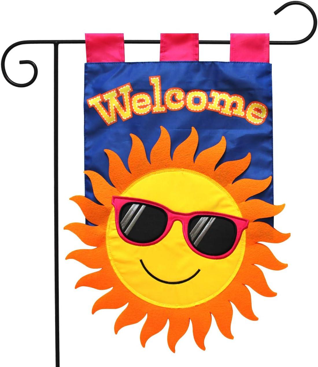 "Briarwood Lane Summer Sun Applique Garden Flag Welcome Sunshine 12.5"" x 18"""