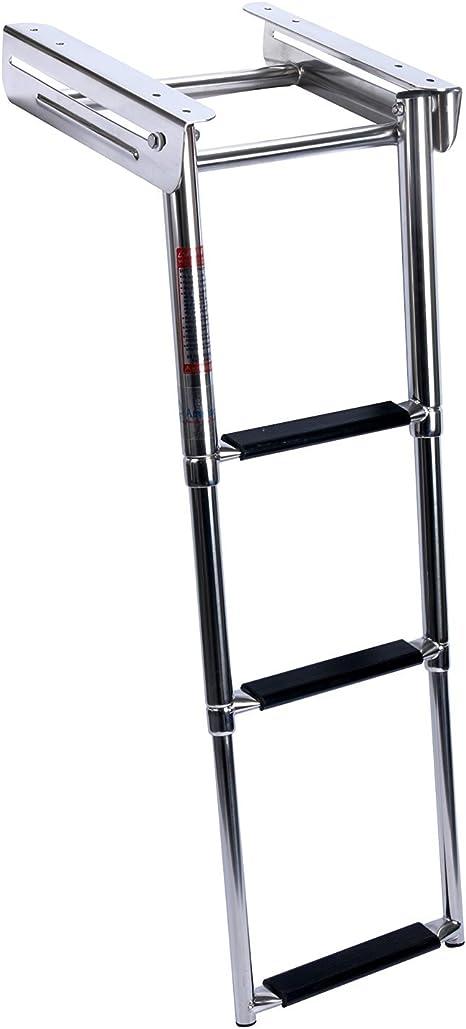 Amarine-Made – Escalera de 3 bajo plataforma para diapositivas barco escalera de embarque, telescópica, acero inoxidable: Amazon.es: Deportes y aire libre