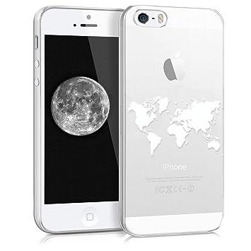 kwmobile Funda para Apple iPhone SE / 5 / 5S - Carcasa de TPU para móvil y diseño de Mapa del Mundo en Blanco/Transparente